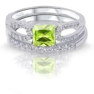Corte-Princesa-Peridoto-Imitacion-Diamantes-Compromiso-Anillo-Plata-de-Ley-Set