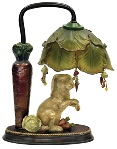 Details About Rabbit Under Cabbage Leaf Shade Accent Table Lamp Bunny Carrot Nursery 13 H