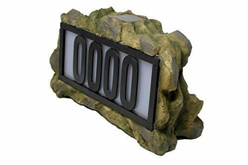 Solar Power Lighted House Numbers Address Sign LED Illuminated Outdoor Rock