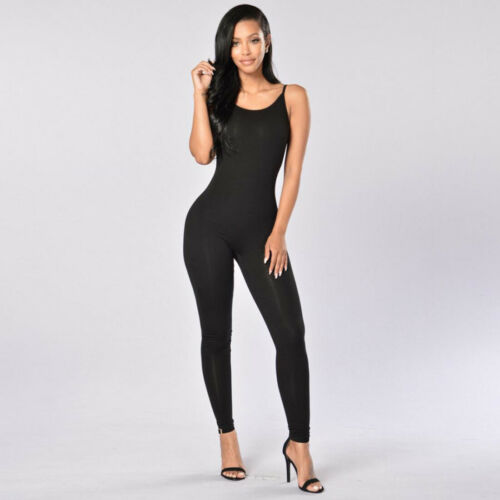 Stretch Jumpsuit Romper Lady Long Blouse Top Bodysuit Women Sleeveless Leotards