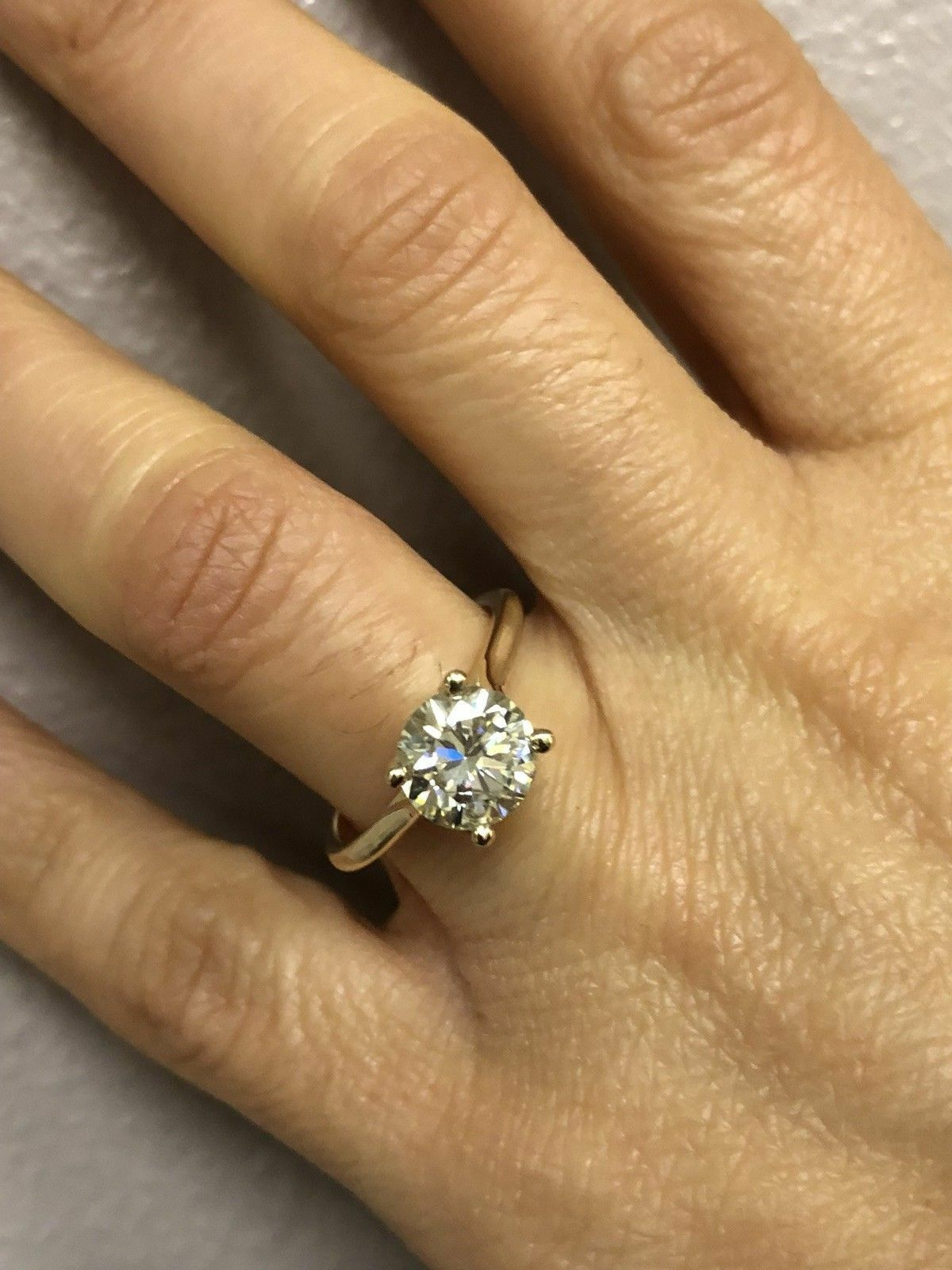 2.00 Ct Bridal Moissanite Engagement Ring 14K Round Cut Real Yellow gold Size 5