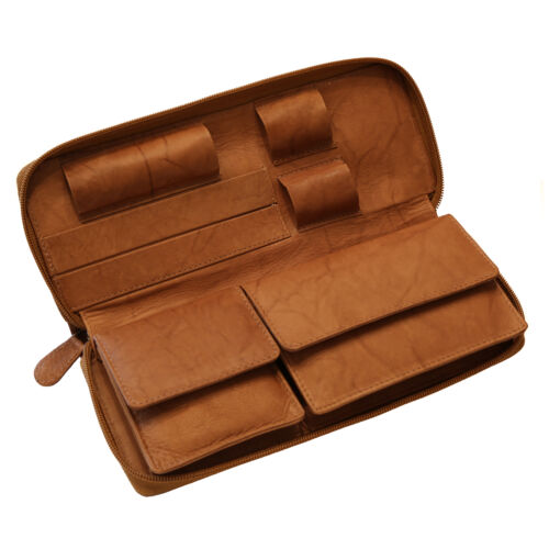 HORTOSOL ANTIQUE Genuine leather tobacco pouch Purse brown Cig Case Rolling Kit