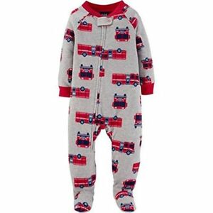 23b48caee Child Of Mine Carter's Boy's 5T Firetruck Gray Fleece Footed Pajama ...
