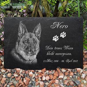 GRANIT Grabstein Tiergrabstein Gedenkstein Hund-G16 ► FOTO GRAVUR ◄ 20x15 cm