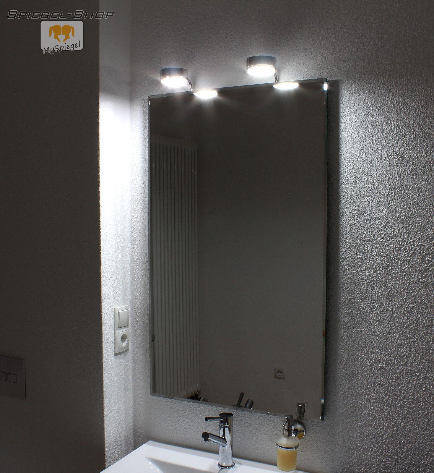 COTNAR LED LEUCHT BELEUCHTETER BAD SPIEGEL MIT STEILFACETTE 60x80CM UND 2 LAMPEN