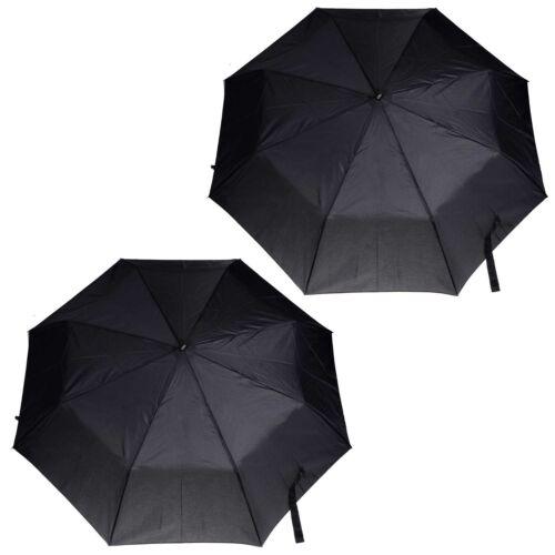 2 x Totes Super Mini Compact Umbrella Black Steel Men/'s With Logo Shaped Handle