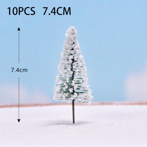 10 Pcs Cedar Trees Winter White Snow Model Train Railroad Scenery Landscape 10cm