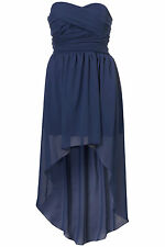 New TOPSHOP mullet hem chiffon bandeau dress by Rare UK 14 in Blue
