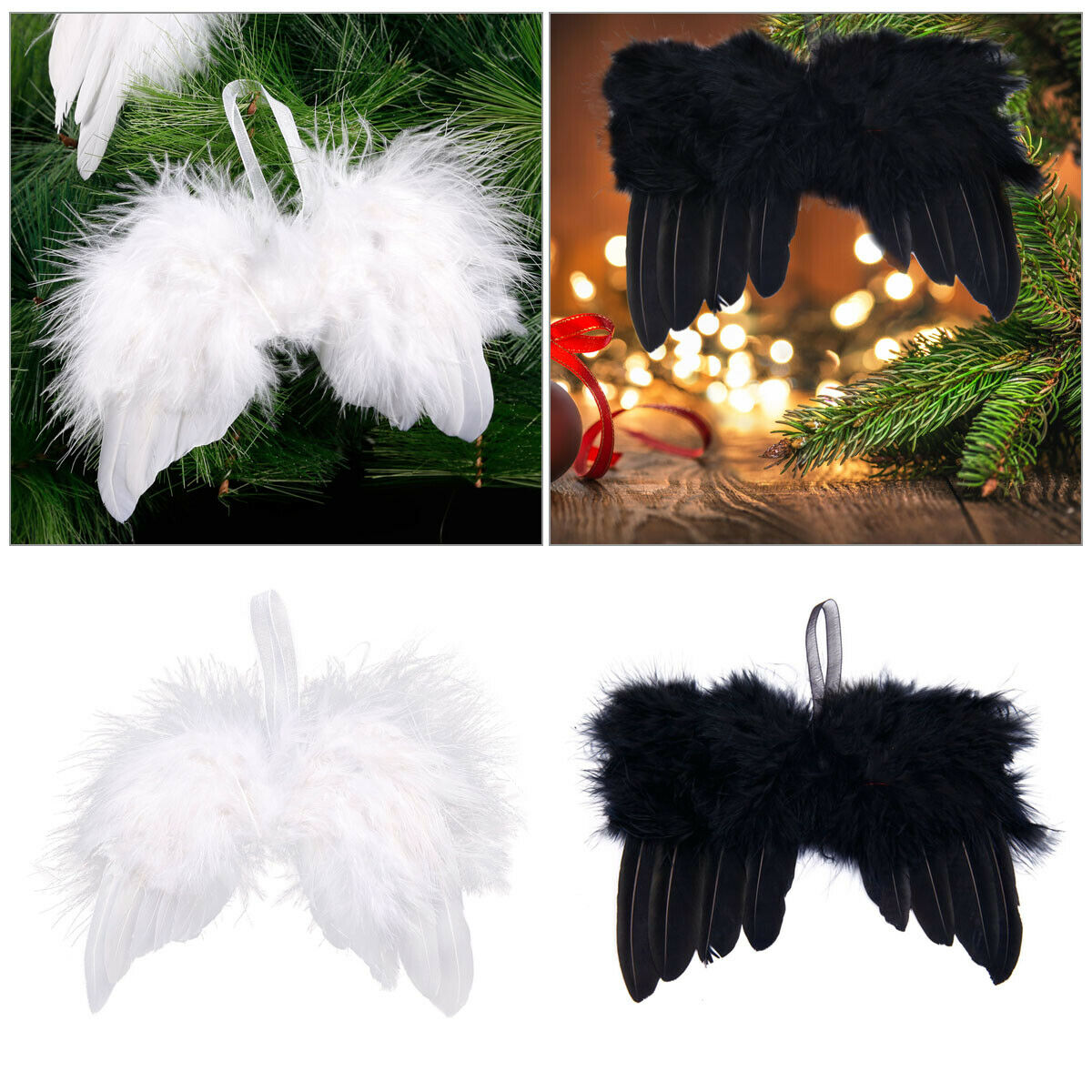 3 x Pink /& Silver Feather Angel Wing Christmas Tree Hanging Decorations
