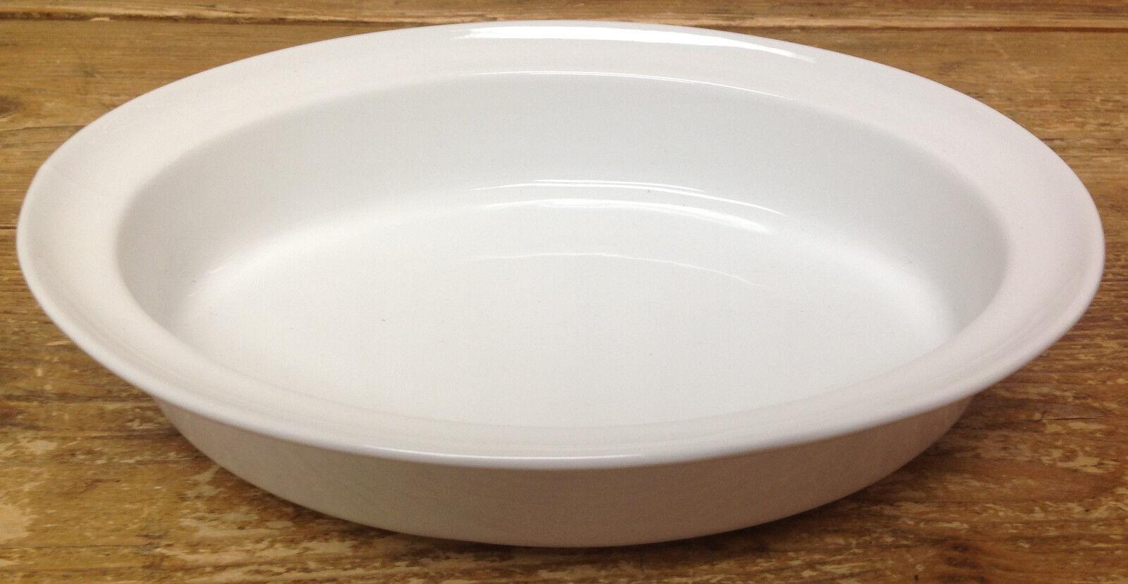Crate & Barrel Mediano Porcelana Óvalo blancoo Baker 658-367 Borde 11 1 4 Cocinar