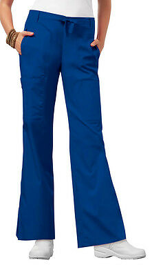 Royal Cherokee Scrubs Luxe Low Rise Flare Leg Drawstring Cargo Pants 21100 ROYV