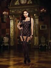 Plus Size Women Rose Floral Sheer Stretch Lace Garter Dress Lingerie