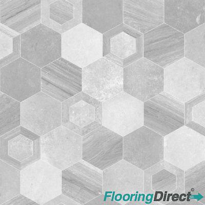 Grey Hexagon Tile Design Non Slip Vinyl Flooring Kitchen