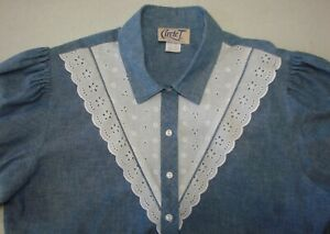 Circle-T-by-Marilyn-Lenox-Button-Front-Short-Sleeve-Western-Top-Size-17-18