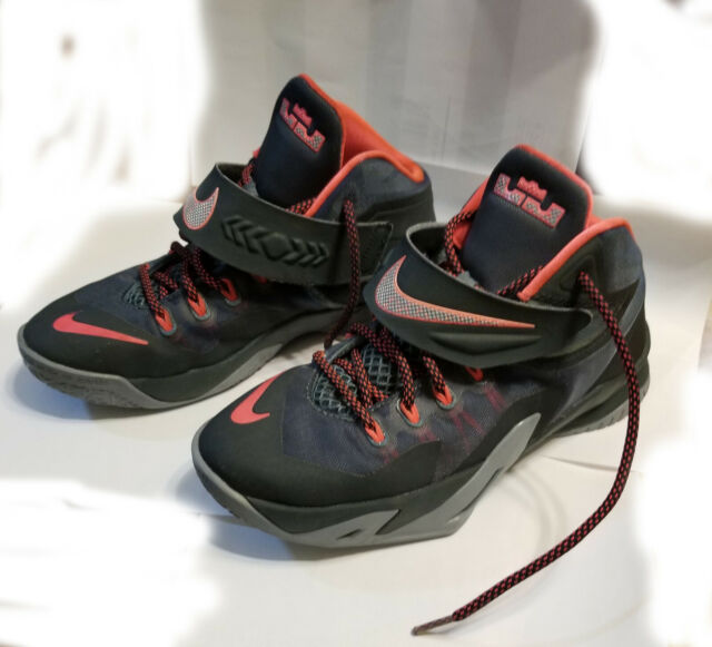 more photos 09226 6cb04 Nike Soldier VIII Big Kids 653645-300 Slate Grey Punch Lebron Shoes Size 5.5