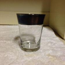 Vintage Dorothy Thorpe ALLEGRO Silver Band Juice Glass MCM