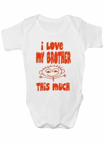 I Love My Brother This Much Babygrow Vest Baby Clothing Funny Gift