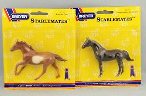 Breyer-Stablemates-Chestnut-Thoroughbred-Seabiscuit-Black-Silky-Sullivan-NIP