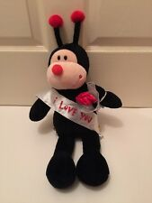 """BAB Lady Bug plush W/ Roses Bouquet And """"I Love You"""" Sash Valentines Day"""