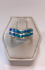 Native American Sterling Silver Zuni Blue opal inlay ring size 6.25