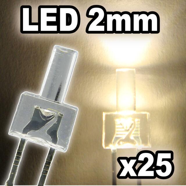 305/25# LED Blanc chaud 2mm 25pcs + résistance