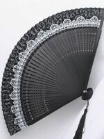 Gothic Lolita Black & White Frilly Folding Fan Cosplay Victorian Elegant