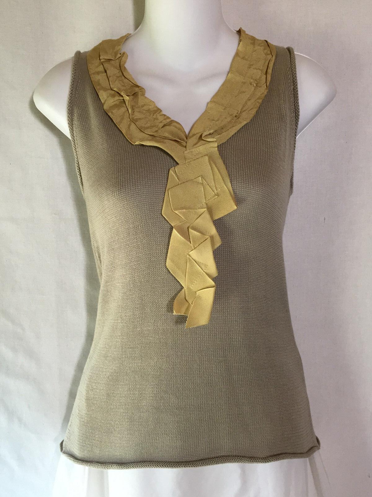 Denise Allen Robinson Neesh Soft Pima Cotton Knit Tunic Tank Sweater Shirt Top S