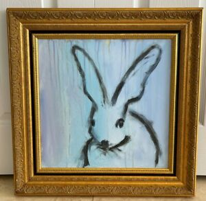 Bunny Blue Oil Painting on Canvas Artwork in The Style of Hunt Slonem