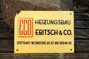 Old Original Enamel Sign Eco Heating Installation Ebitsch & Co.Stuttgart Rarely