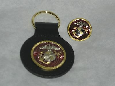 U.S Marine Corps Key Chain w// Leather Strap /& Lapel Pin Set