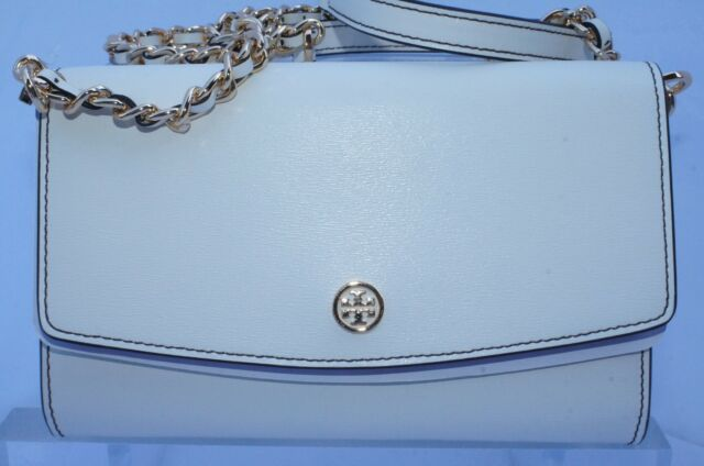 5e30eb7a5 Tory Burch Ivory Leather Parker Chain Wallet Crossbody Shoulder Bag ...