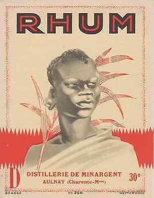 """""""rhum / Distillerie De Minargent Aulnay"""" Etiquette Litho Originale"""