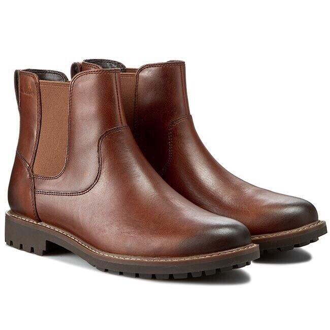 Clarks Men's Montacute Top Dark Tan Leather Boots Size UK 6.5 G EU 40