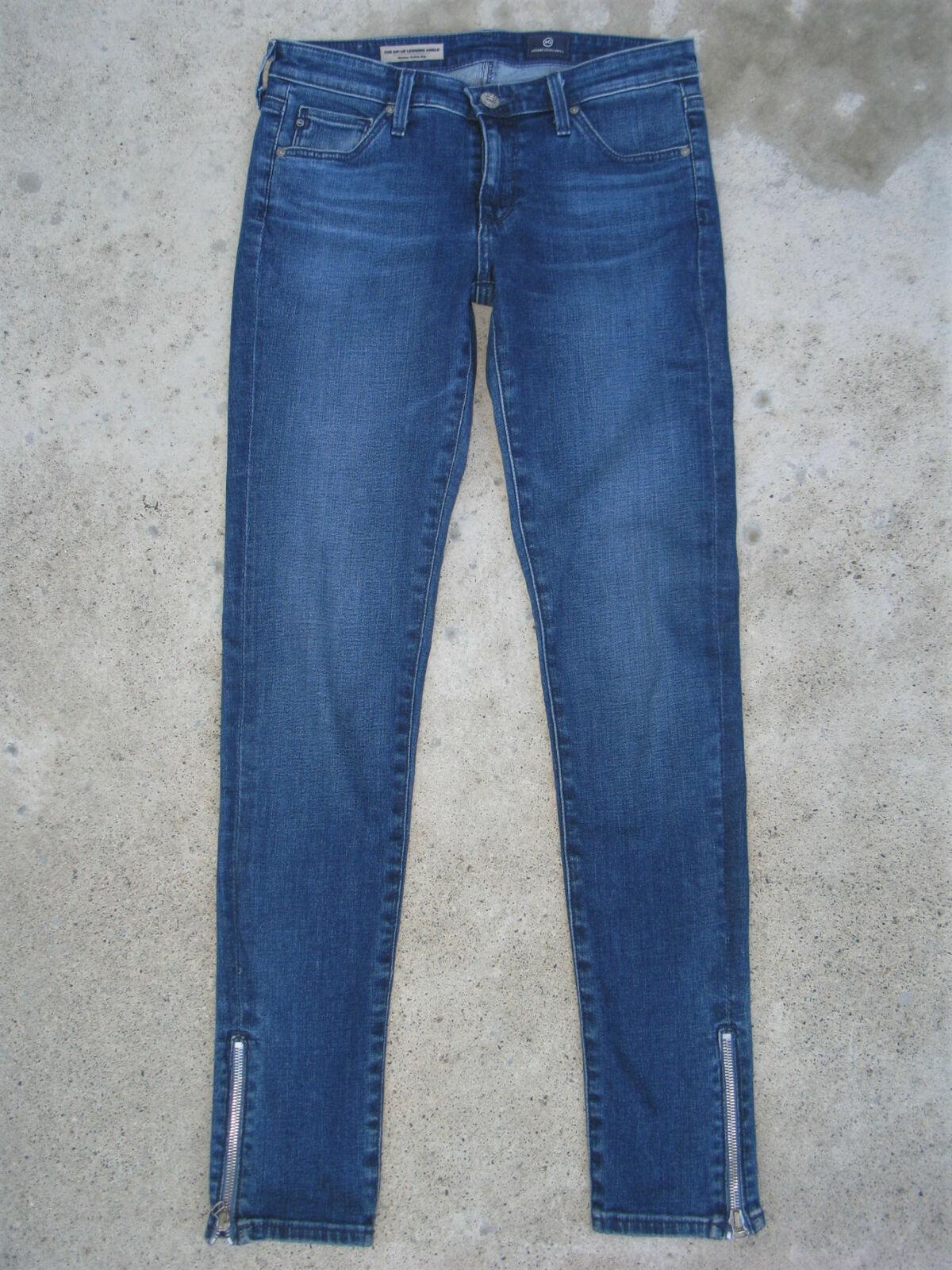 AG ADRIANO goldSCHMIED Zip-Up Legging Ankle Jean Sz 26 Skinny Distressed Stretch