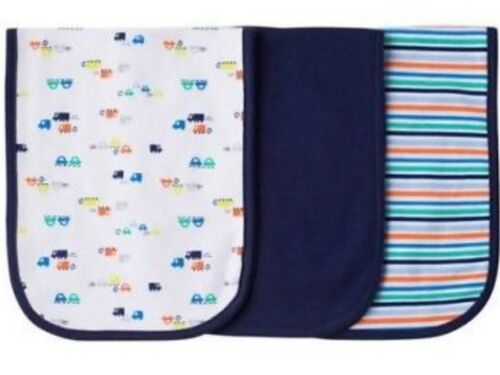 GERBER BABY BOY/'S 3-Pack Terry Lined Burp Cloths Blue White  NWT Cars Trucks