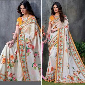 bcadc3b8125 Details about Saree Indian Designer Tusser Silk Sari Blouse Ethnic  Bollywood Partywear Dress
