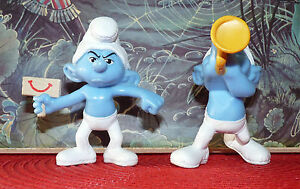 Special-Lot-of-2-PVC-Toys-Smurfs-Figurines-Schtroumph-Musicien-amp-Grognon