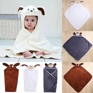 Lovely Baby Boys Girls Cartoon Hooded Bathrobe Child Toddler Bathing Towel Robe