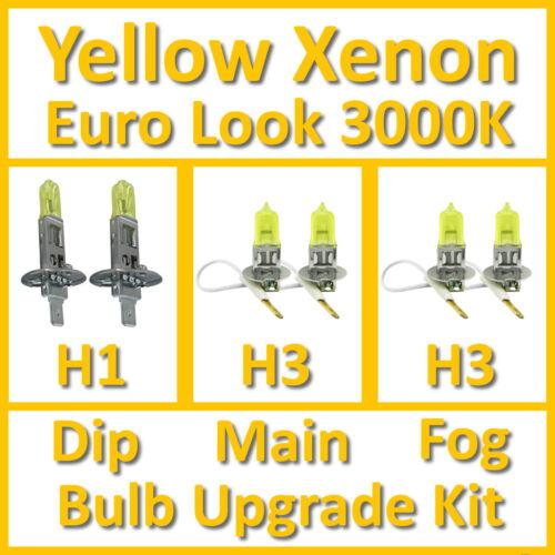 Blanc chaud 3000K jaune Xenon ampoule de phare Set main DIP Fog H1 H3 Kit H3