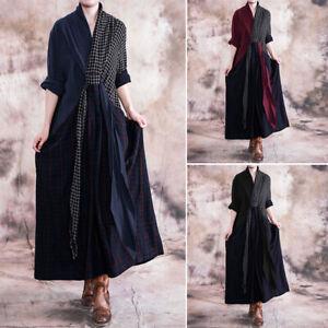 Vintage-Femme-Col-V-Personnalite-Manche-Longue-Couture-Verifier-Robe-Dresse-Plus