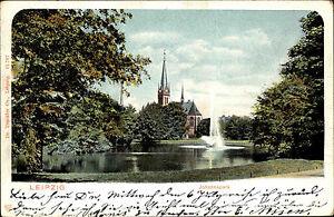 Leipzig-Sachsen-AK-1904-Johannapark-Parkanlage-Park-Springbrunnen-Teich-Kirche