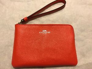 1672bda6d0dd Image is loading COACH-58032-Silver-Bright-Orange-Crossgrain-Leather-Corner-