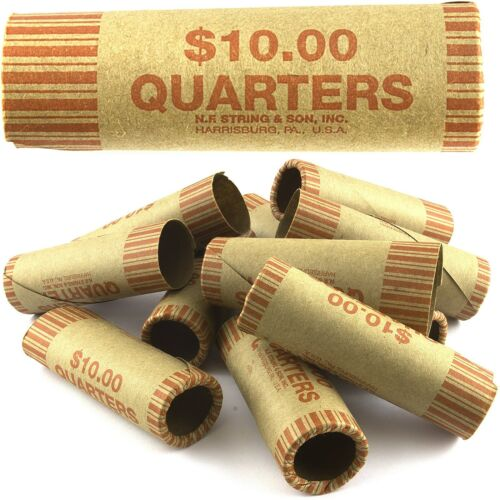 72 ROLLS PREFORMED QUARTER COIN WRAPPERS TUBES 25 CENT Shotgun Counter Paper