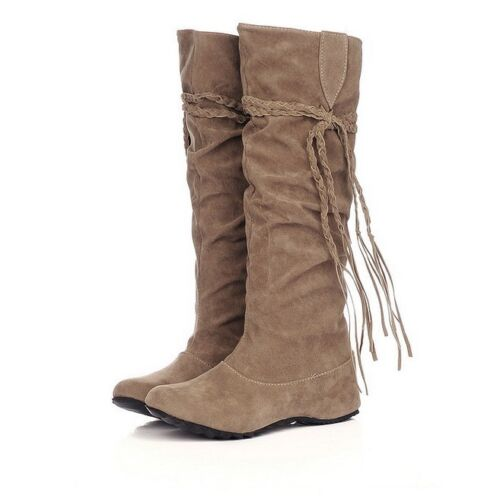 Women Winter Warm Snow Boot Suede Tassel Mid-calf Boots Flat Shoes Jackboots Hot