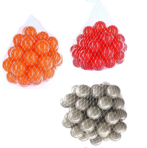 150-9000 Bällebad Bälle 55mm mix grau rot orange gemischt Farben Baby Kind Ball