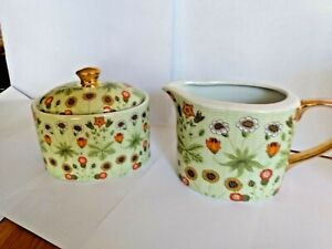 Decorative-China-Cream-amp-Sugar-Bowls-William-Morris-034-Daisy-034-Pattern
