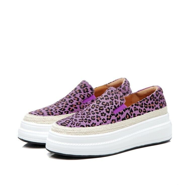 New donna Leather Leopard Slip On Loafers Platform Flats Casual Creepers scarpe