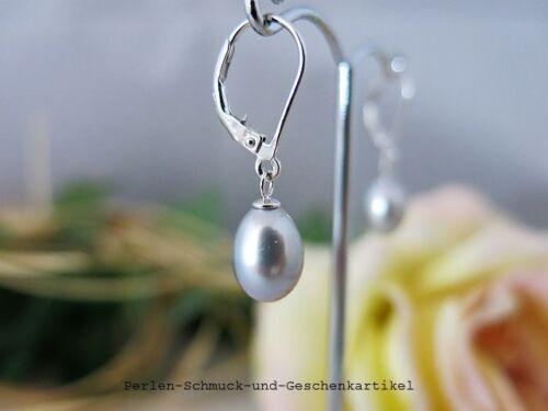 Aretes de perlas gotas en Tahití-gris brisur 925er plata oferta