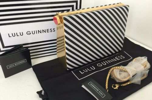 Bnib amp; Karlie Box Guinness Lulu Clutch Bag Shoulder White Black Stripe PvWq6T