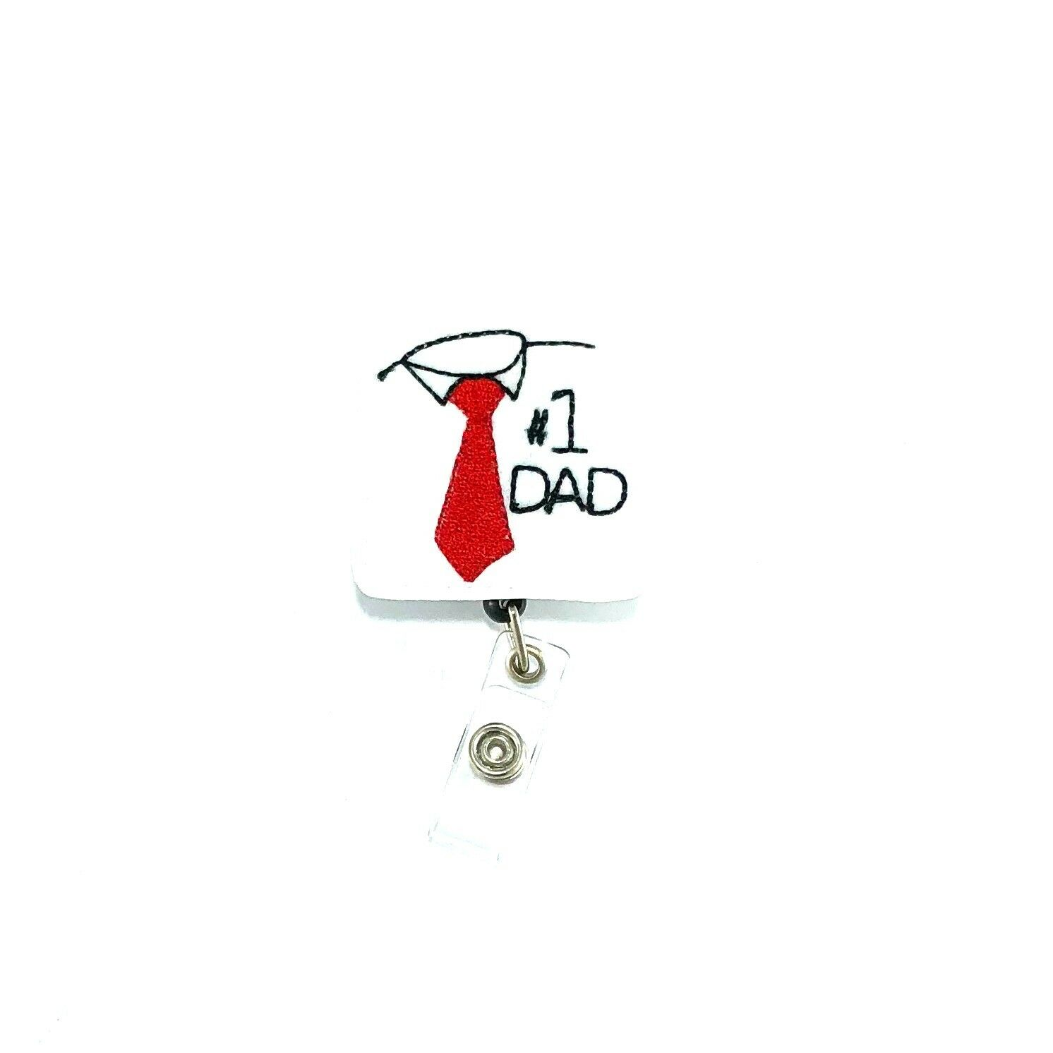 #1 Dad Badge Reel Holder Clip Fathers Day Gift Present ID Name Tag Lanyard Charm